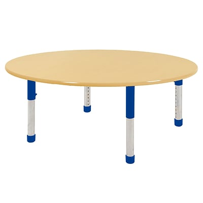 ECR4Kids Thermo-Fused Adjustable 60 Round Laminate Activity Table Maple/Maple/Blue (ELR-14224-MPMPBLCH)