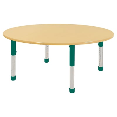 ECR4Kids Thermo-Fused Adjustable 60 Round Laminate Activity Table Maple/Maple/Green (ELR-14224-MPMPGNCH)