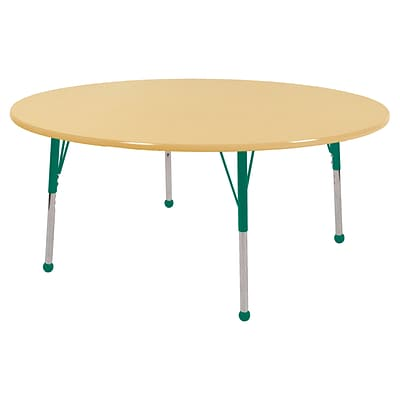 ECR4Kids Thermo-Fused Adjustable Ball 60 Round Laminate Activity Table Maple/Maple/Green (ELR-14224-MPMPGNSB)