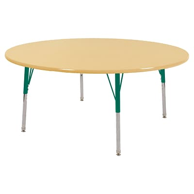 ECR4Kids Thermo-Fused Adjustable Swivel 60 Round Laminate Activity Table Maple/Maple/Green (ELR-14224-MPMPGNSS)