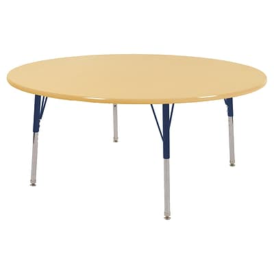 ECR4Kids Thermo-Fused Adjustable Swivel 60 Round Laminate Activity Table Maple/Maple/Navy (ELR-14224-MPMPNVTS)