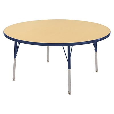 ECR4Kids Thermo-Fused Adjustable Swivel 60 Round Laminate Activity Table Maple/Navy (ELR-14224-MPNVNVTS)