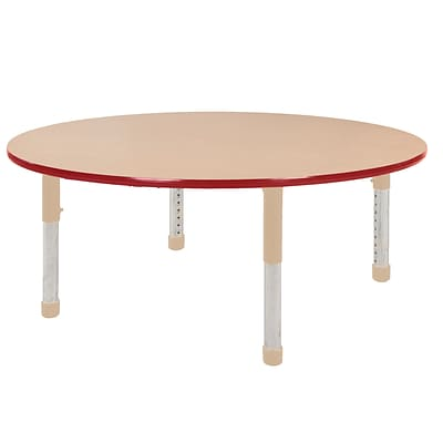 ECR4Kids Thermo-Fused Adjustable 60 Round Laminate Activity Table Maple/Red/Sand (ELR-14224-MPRDSDCH)