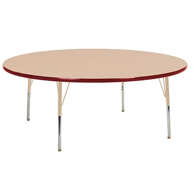ECR4Kids Thermo-Fused Adjustable Swivel 60 Round Laminate Activity Table Maple/Red/Sand (ELR-14224-MPRDSDTS)