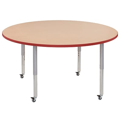 ECR4Kids T-Mold Adjustable Leg 60 Round Laminate Activity Table Maple/Red/Silver (ELR-14124-MRDSV-SL)