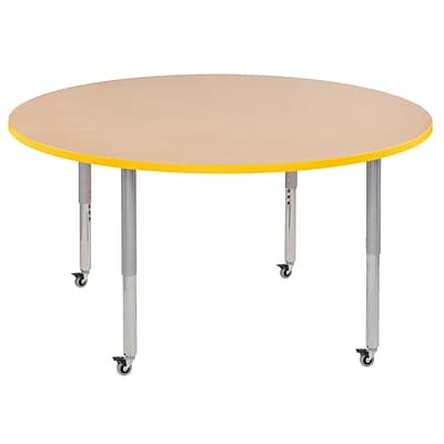 ECR4Kids T-Mold Adjustable Leg 60 Round Laminate Activity Table Maple/Yellow/Silver (ELR-14124-MYESV-SL)