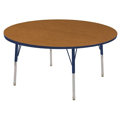 ECR4Kids Thermo-Fused Adjustable Swivel 60 Round Laminate Activity Table Oak/Navy (ELR-14224-OKNVNVSS)