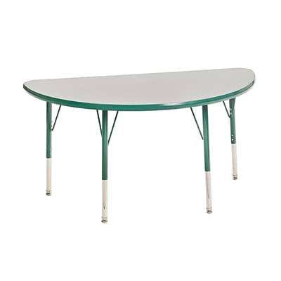 ECR4Kids Thermo-Fused Adjustable Swivel 48 x 24 Half-Round Laminate Activity Table Grey/Green (ELR-14225-GYGNGNTS)
