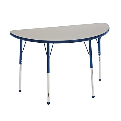 ECR4Kids Thermo-Fused Adjustable Ball 48 x 24 Half-Round Laminate Activity Table Grey/Navy (ELR-14225-GYNVNVSB)