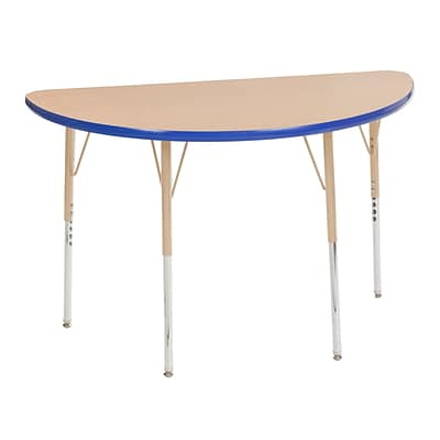 ECR4Kids Thermo-Fused Adjustable Swivel 48 x 24 Half-Round Laminate Activity Table Maple/Blue/Sand (ELR-14225-MPBLSDSS)