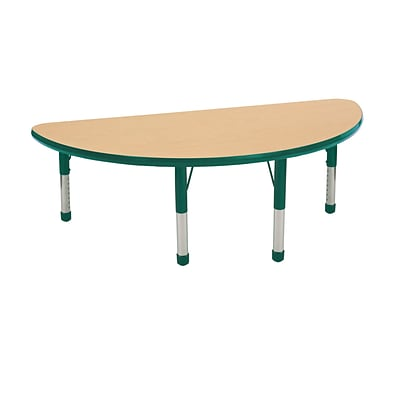 ECR4Kids Thermo-Fused Adjustable 48 x 24 Half-Round Laminate Activity Table Maple/Green (ELR-14225-MPGNGNCH)