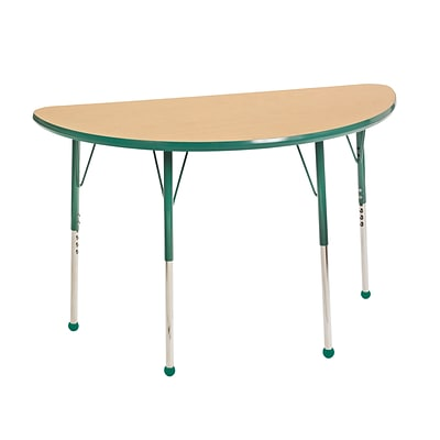 ECR4Kids Thermo-Fused Adjustable Ball 48 x 24 Half-Round Laminate Activity Table Maple/Green (ELR-14225-MPGNGNSB)
