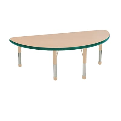 ECR4Kids T-Mold Adjustable 48 x 24 Half-Round Laminate Activity Table Maple/Green/Sand (ELR-14125-MGNSD-C)
