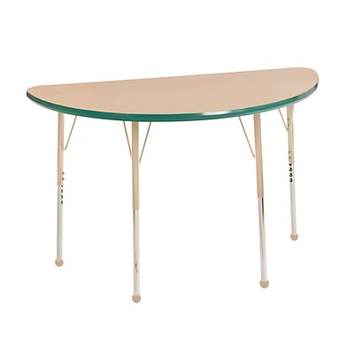ECR4Kids T-Mold Adjustable Ball 48 x 24 Half-Round Laminate Activity Table Maple/Green/Sand (ELR-14125-MGNSD-SB)