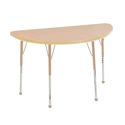 ECR4Kids T-Mold Adjustable Ball 48 x 24 Half-Round Laminate Activity Table Maple/Maple/Sand (ELR-14125-MMSD-TB)