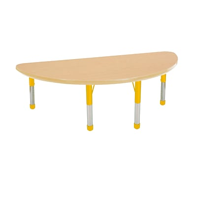 ECR4Kids Thermo-Fused Adjustable 48 x 24 Half-Round Laminate Activity Table Maple/Maple/Yellow (ELR-14225-MPMPYECH)