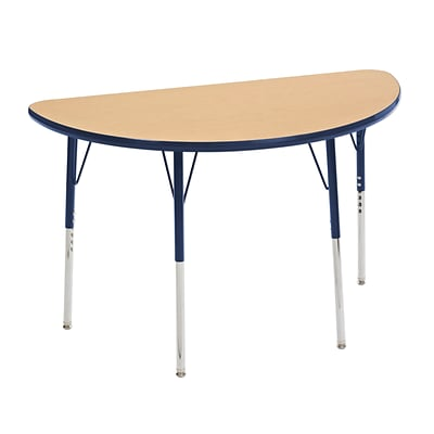 ECR4Kids Thermo-Fused Adjustable Swivel 48 x 24 Half-Round Laminate Activity Table Maple/Navy (ELR-14225-MPNVNVSS)