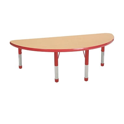 ECR4Kids Thermo-Fused Adjustable 48 x 24 Half-Round Laminate Activity Table Maple/Red (ELR-14225-MPRDRDCH)