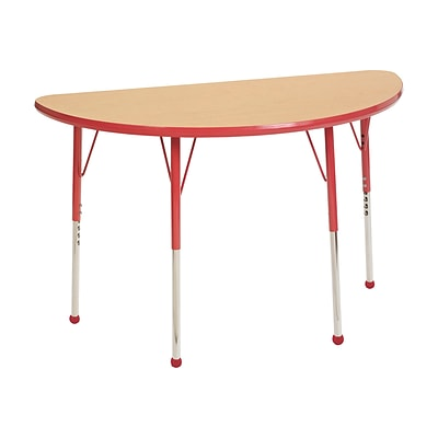 ECR4Kids Thermo-Fused Adjustable Ball 48 x 24 Half-Round Laminate Activity Table Maple/Red (ELR-14225-MPRDRDSB)