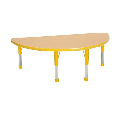 ECR4Kids Thermo-Fused Adjustable 48 x 24 Half-Round Laminate Activity Table Maple/Yellow (ELR-14225-MPYEYECH)