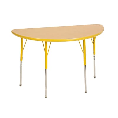 ECR4Kids Thermo-Fused Adjustable Swivel 48 x 24 Half-Round Laminate Activity Table Maple/Yellow (ELR-14225-MPYEYETS)