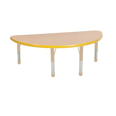 ECR4Kids Thermo-Fused Adjustable 48 x 24 Half-Round Laminate Activity Table Maple/Yellow/Sand (ELR-14225-MPYESDCH)