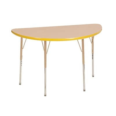ECR4Kids T-Mold Adjustable Swivel 48 x 24 Half-Round Laminate Activity Table Maple/Yellow/Sand (ELR-14125-MYESD-SS)