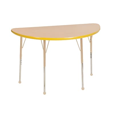 ECR4Kids T-Mold Adjustable Ball 48 x 24 Half-Round Laminate Activity Table Maple/Yellow/Sand (ELR-14125-MYESD-TB)