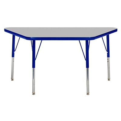 ECR4Kids Thermo-Fused Adjustable Swivel 48 x 24 Trapezoid Laminate Activity Table Grey/Blue (ELR-14226-GYBLBLTS)