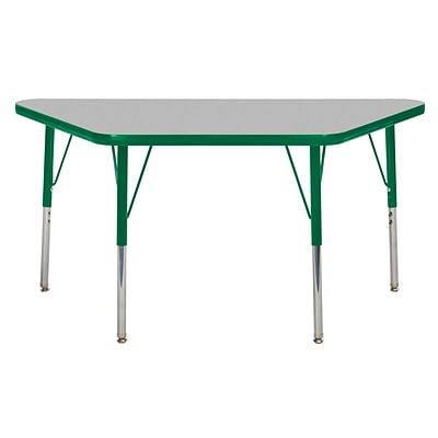 ECR4Kids Thermo-Fused Adjustable Swivel 48 x 24 Trapezoid Laminate Activity Table Grey/Green (ELR-14226-GYGNGNSS)