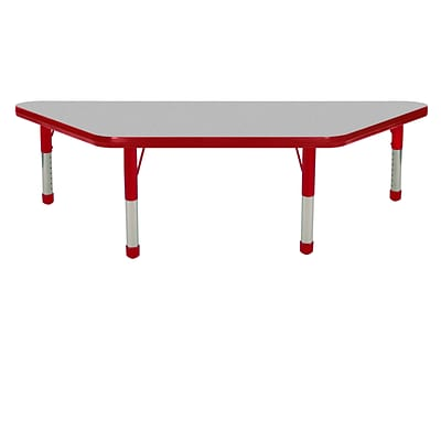 ECR4Kids Thermo-Fused Adjustable 48 x 24 Trapezoid Laminate Activity Table Grey/Red (ELR-14226-GYRDRDCH)