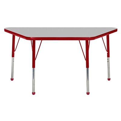 ECR4Kids Thermo-Fused Adjustable Ball 48 x 24 Trapezoid Laminate Activity Table Grey/Red (ELR-14226-GYRDRDTB)
