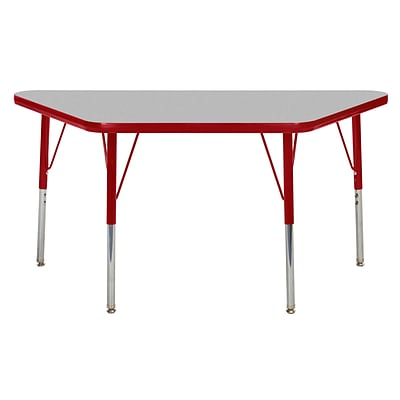 ECR4Kids Thermo-Fused Adjustable Swivel 48 x 24 Trapezoid Laminate Activity Table Grey/Red (ELR-14226-GYRDRDTS)