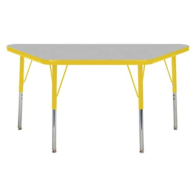 ECR4Kids Thermo-Fused Adjustable Swivel 48 x 24 Trapezoid Laminate Activity Table Grey/Yellow (ELR-14226-GYYEYETS)