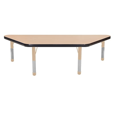 ECR4Kids Thermo-Fused Adjustable 48 x 24 Trapezoid Laminate Activity Table Maple/Black/Sand (ELR-14226-MPBKSDCH)