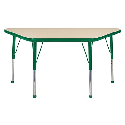 ECR4Kids Thermo-Fused Adjustable Ball 48 x 24 Trapezoid Laminate Activity Table Maple/Green (ELR-14226-MPGNGNSB)