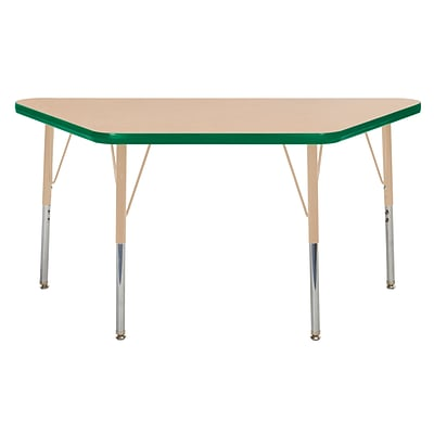 ECR4Kids Thermo-Fused Adjustable Swivel 48 x 24 Trapezoid Laminate Activity Table Maple/Green/Sand (ELR-14226-MPGNSDSS)