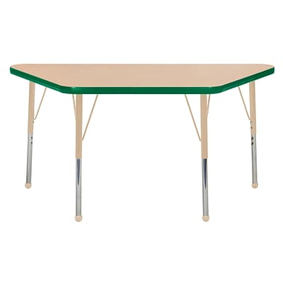 ECR4Kids T-Mold Adjustable Ball 48 x 24 Trapezoid Laminate Activity Table Maple/Green/Sand (ELR-14126-MGNSD-TB)