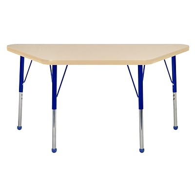 ECR4Kids Thermo-Fused Adjustable Ball 48 x 24 Trapezoid Laminate Activity Table Maple/Maple/Blue (ELR-14226-MPMPBLSB)