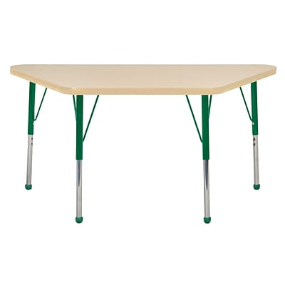 ECR4Kids Thermo-Fused Adjustable Ball 48 x 24 Trapezoid Laminate Activity Table Maple/Maple/Green (ELR-14226-MPMPGNTB)
