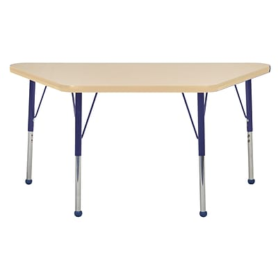 ECR4Kids Thermo-Fused Adjustable Ball 48 x 24 Trapezoid Laminate Activity Table Maple/Maple/Navy (ELR-14226-MPMPNVTB)