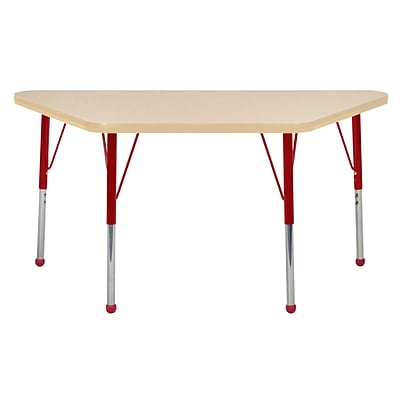 ECR4Kids Thermo-Fused Adjustable Ball 48 x 24 Trapezoid Laminate Activity Table Maple/Maple/Red (ELR-14226-MPMPRDTB)