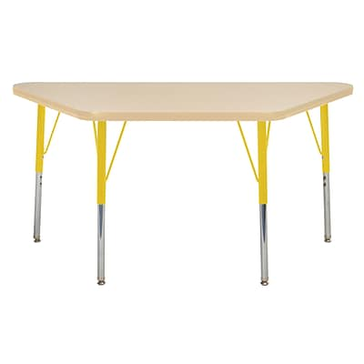 ECR4Kids Thermo-Fused Adjustable Swivel 48 x 24 Trapezoid Laminate Activity Table Maple/Maple/Yellow (ELR-14226-MPMPYETS)