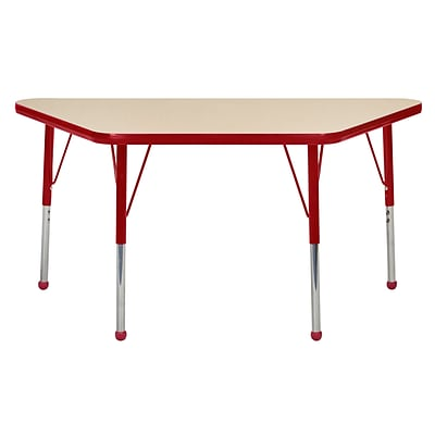ECR4Kids Thermo-Fused Adjustable Ball 48 x 24 Trapezoid Laminate Activity Table Maple/Red (ELR-14226-MPRDRDTB)