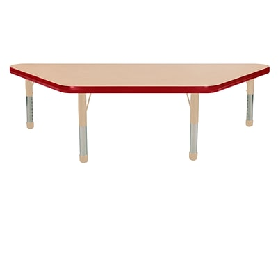 ECR4Kids T-Mold Adjustable 48 x 24 Trapezoid Laminate Activity Table Maple/Red/Sand (ELR-14126-MRDSD-C)