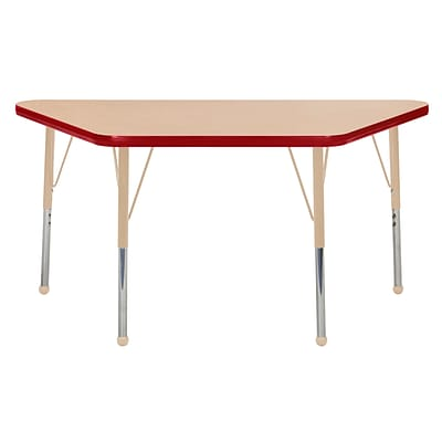 ECR4Kids T-Mold Adjustable Ball 48 x 24 Trapezoid Laminate Activity Table Maple/Red/Sand (ELR-14126-MRDSD-TB)