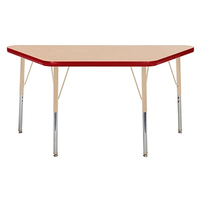 ECR4Kids T-Mold Adjustable Swivel 48 x 24 Trapezoid Laminate Activity Table Maple/Red/Sand (ELR-14126-MRDSD-TS)