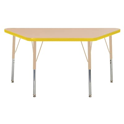 ECR4Kids T-Mold Adjustable Swivel 48 x 24 Trapezoid Laminate Activity Table Maple/Yellow/Sand (ELR-14126-MYESD-TS)
