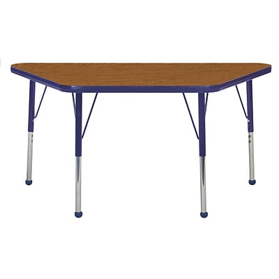 ECR4Kids Thermo-Fused Adjustable Ball 48 x 24 Trapezoid Laminate Activity Table Oak/Navy (ELR-14226-OKNVNVSB)