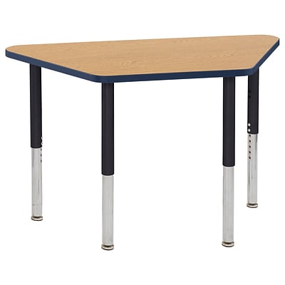 ECR4Kids T-Mold Adjustable Leg 48 x 24 Trapezoid Laminate Activity Table Oak/Navy/Black (ELR-14126-OKNVBK-SL)